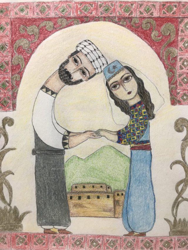 Türkmeneli Yerel Kıyafeti Giymiş Türkmen Çift